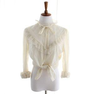 80s Vtg Victorian Blouse Ruffle Gauzy Cotton Small